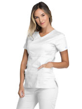 Cherokee Core Stretch Plus Size Women's Scrub Top White 3Xl Nwt