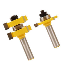 """Tongue and Groove Router Bit Set 1/2"""" Shank 3 Tooth Mortise Cutter 2 Bits"""
