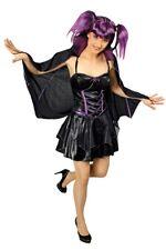Fledermaus Hexen Kostüm Damen Schwarz Lila Gothic Karneval Gr. 36-42  %SALE%