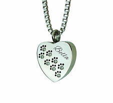 Crystal Personalised Paws Heart Urn Pendant Memorial Ash Cremation Jewellery