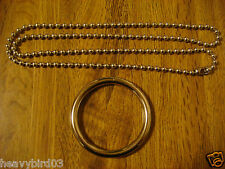 #44 Close Up Magic Trick! No Sleight of hand! Chrome 2 1/2 in Ring 36 in Chain.