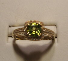 NEW .91ct Peridot and Diamond 14k Yellow Gold Ring Size 7.0 Made in America!