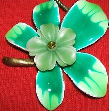 Antiqued Gold Pewter Enamel Green Flower Necklace