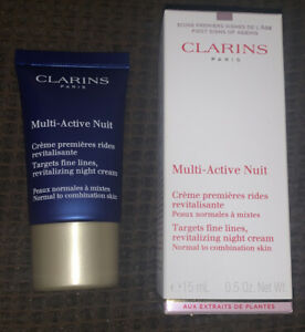 CLARINS Multi-Active Nuit, 0.5 oz 15 ML Brand New In Box Targets Fine Lines