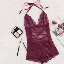 bca119acd8 Women's V Neck Sleeveless Pajama Burgundy Bottom Halter Neck Lace Sleep  Rompers