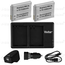 2X NB-6LH Replacement Battery & USB Dual Charger + AC/DC for Canon SX530 SX520