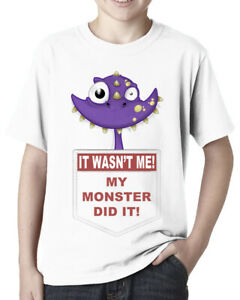 Purple Pocket Monster: My Monster Did It (Funny Monsters) Childrens T Shirt