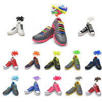 No-Tie Elastic Shoelaces Silicone Flat Round Shoe Laces Sneakers Boots athletic