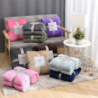 Warm Solid Micro Plush Flannel Blanket Fleece Throw Rug Sofa Bedding 100*150cm