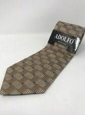 ADOLFO 100% Silk Tie Men's New Light Brown Necktie