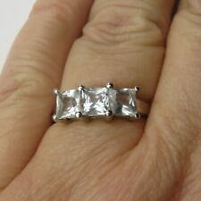 925 Sterling Silver Ladies Ring Size P Smokey Clear Square Trilogy Gemporia
