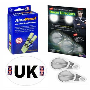 Headlamp Beam Fresnal Lens Adaptors 2 French Breathalyser UK Sticker Euro Travel