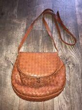 Vintage BOTTEGA VENETA Brown Woven Nappa Leather Crossbody Messenger Bag Great!