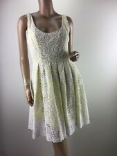 FOREVER NEW LEMON YELLOW WHITE EMBROIDED DRESS SIZE 10 (F05400)