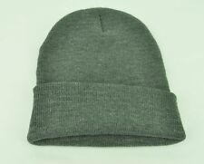 2ed72fe5277 Knit Beanie Dark Grey Cuffed Winter Thick Blank Plain Solid Flexible Acrylic
