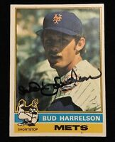 BUD BUDDY HARRELSON 1976 TOPPS Autograph Signed AUTO Baseball Card 337 METS