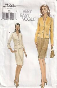 Vogue Sewing Pattern 8004 EASY Jacket & Skirt Suit, Princess Seams Size 14 16 18