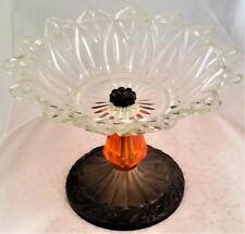 Vintage Federal Glass Petal Point Clear Glass Bowl on Metal & Lucite Pedestal