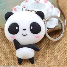 Cute 3D Panda Keychain Charm Pendant Hand Bag Car Silver Key Chain Keyring Gift