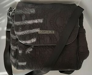 PETUNIA PICKLE BOTTOM Black Backpack/Messenger Diaper Bag w/ Changing Pad