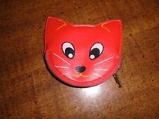 NOS Kawaii vintage vinyl zipper red cat fox dog wolf coin purse Japan