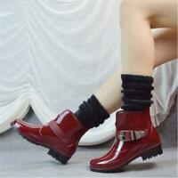 Women's Short Rain Boots Rubber Waterproof Wellies Garden Ankle Boots Flat heels
