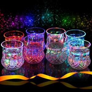 LED Glasses Multi Color Light Up Drinking Tumblers Liquid Activated