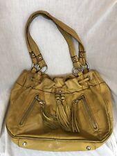 """B. Makowsky Camel Beige Tassel Drawstring Leather Shoulder Bag 14 x 9.5 x 4"""""""