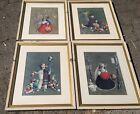 4 Vintage Framed Alejandro Rangel Hidalgo Lithographs