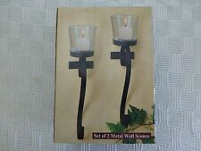Set of 2 Metal Wall Mounted Candle Sconce With Glass Candle Holder NIP