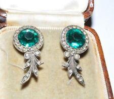 935 Silver Clip On Earings Fine Vintage Art Deco Emerald Glass