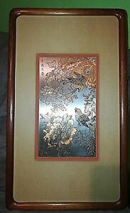 ZHANG SHOU-CHENG GENUINE 24KT GOLD,SILVER & COPPER CHINESE SPARROWS ETCHING COA