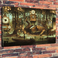"Awesome Steampunk Scene Printed Canvas Picture A1.30""x20""30mm Wall Art Victorian"