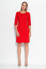 Ladies Work Office Business Knee Length Crew Neck Half Sleeve Fitted Dress FA525