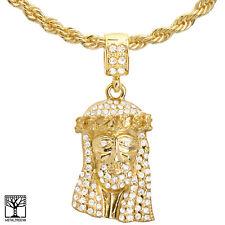 "22"" Chain Necklace Hc 1175 G Men's Fashion Gold Plated Jesus Face Pendant"