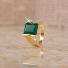 Verde Natural Onix Piedra con Oro Chapado 925 Plata de Ley Anillo Para Hombre O