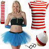 Men's  Women's New outfit Red & White Fancy Dress Kit Set Book Week Day costume