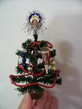 Antique Look Dollhouse Miniature Christmas Tree with Ornaments/Topper, Handmade