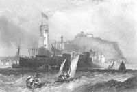 SCARBOROUGH CASTLE Pier LIGHTHOUSE NORTH YORKSHIRE ~ 1840 Art Print Engraving