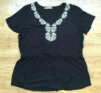 Maurices+ Women's Short Sleeve Top Black Size 2 Embroidered Peplum Drawstring