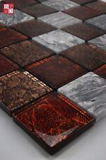 Mosaico de vidrio marmolado baldosas Brillante Marrón Gris