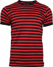 Run & Fly Black and Red Striped Short Sleeve T-Shirt 60s Retro