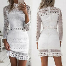 Spring Summer Women White Slim Sexy Ruffle Crochet Solid Lace Bodycon Dress