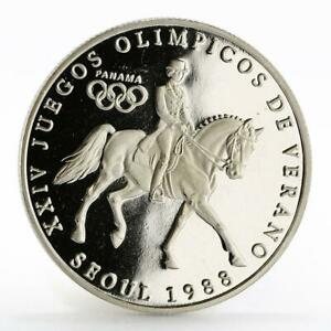 Panama 1 balboa Olympic Summer Games Equestrian proof silver coin 1988
