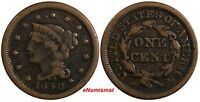 US Copper 1848 Braided Hair Large Cent 1 c.  (15 640)
