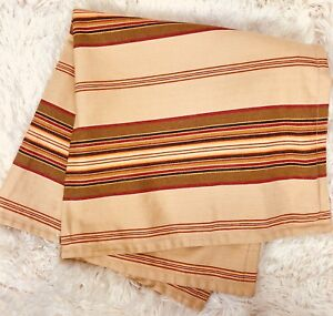 """Pottery Barn Striped Pillow Cover 24""""x24"""" All Cotton Beige/tan Red brown Stripes"""