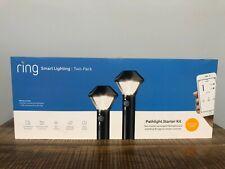 Ring Battery Powered Smart Path Light Starter Kit 2 Pack With Bridge Black