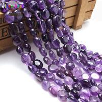 Natural Gemstone Freeform Amethyst Beads Jewelry Making Purple Crystal 8-10mm
