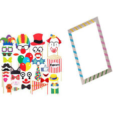 Funny Mixed DIY Photo Booth Props On A Stick +Stripe Selfie Frame Photo Tool