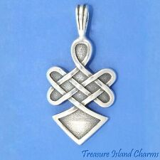 Celtic WARRIOR SPIRIT Endless Knot 925 Solid Sterling Silver Pendant MADE IN USA